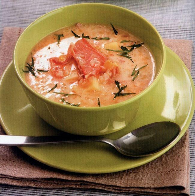 Суп з копченої риби з кукурудзою по-грецьки